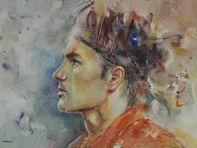 Roger Federer Painting - Roger Federer - Portrait 9 by Baresh Kebar - Kibar