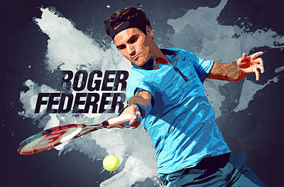 Serena Williams Digital Art - Roger Federer by Semih Yurdabak