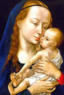 Rogier Van Der Weyden Virgin And Child Print by Munir Alawi