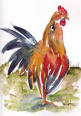 Burnt Sienna Painting - Rognonas Rooster by Pat Katz