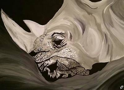 White Rhino Painting - Rogue by Kate Hart
