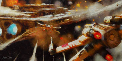 Engine Digital Art - Rogue One X-fighter - Da by Leonardo Digenio