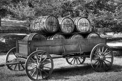 Roll Out The Barrels Black And White Print by Tri State Art