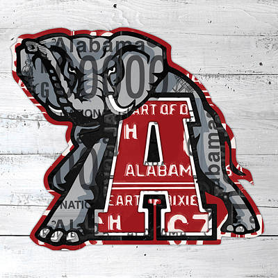 Roll Tide Alabama Crimson Tide Recycled State License Plate Art Print by Design Turnpike