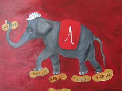 Bama Painting - Roll Tide by Brenda Luczynski