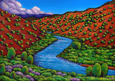 New Mexico Landscape Painting - Rolling Rio Grande by Johnathan Harris
