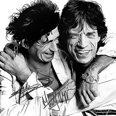 Keith Richards Digital Art - Rolling Stones Art With Autographs by Kjc