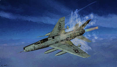 Digital Art - Rolling Thunder F-100 Super Sabre by Tommy Anderson