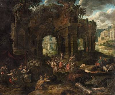 Landscape Painting - Roman Landscape With Ruins And A Carneval Procession by Gillis van Valckenborch