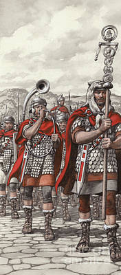 Invade Painting - Roman Legions Marching Behind Their Standard by Pat Nicolle
