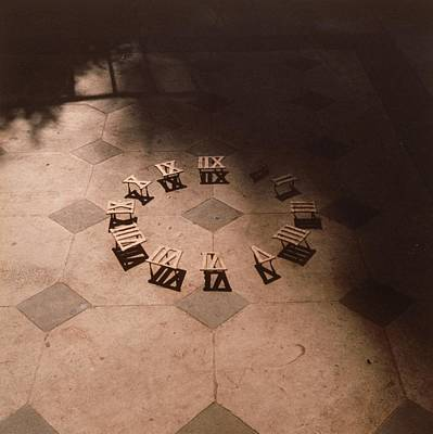 Roman Numerals On Floor Print by Elspeth Ross