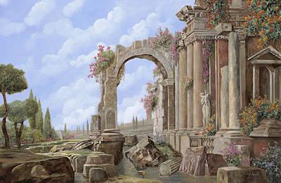 Columns Painting - Roman Ruins by Guido Borelli