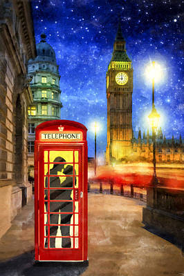 Romance In London By Starlight Print by Mark E Tisdale