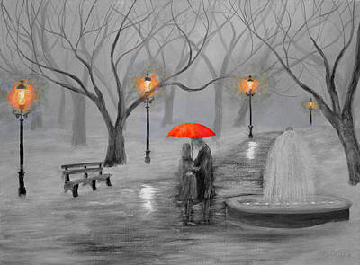 Night Painting - Romance In The Park Color Pop by Ken Figurski