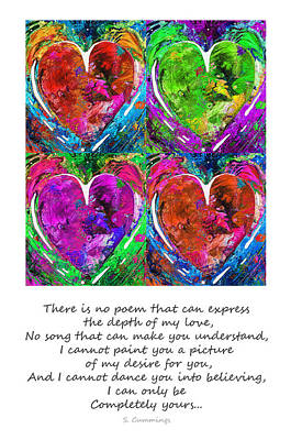 Hearts Painting - Romantic Art - Completely Yours - By Sharon Cummings by Sharon Cummings