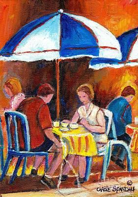 Brunch Painting - Romantic Brunch Rue St Denis Paris Style Cafe Paintings Original Quebec Art Carole Spandau    by Carole Spandau
