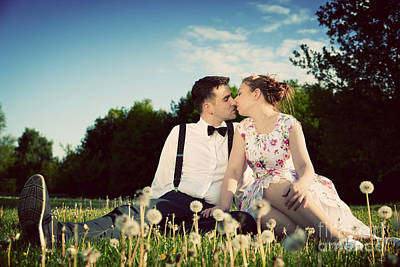 Girlfriend Photograph - Romantic Couple In Love About To Kiss Sitting On Grass by Michal Bednarek