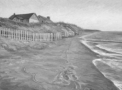 Cape Cod Beach Painting - Romantic Getaway - Black And White by Lucie Bilodeau