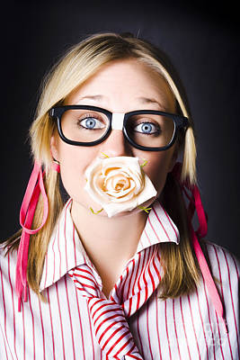 Romantic Nerd Flower Girl With Expression Of Love Print by Jorgo Photography - Wall Art Gallery