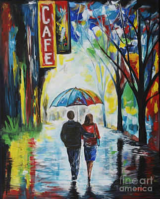 Romantic Night Out Print by Leslie Allen