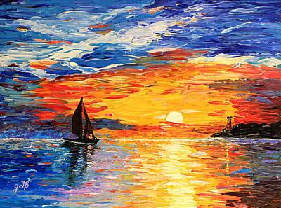 Romantic Sea Sunset Print by Georgeta  Blanaru