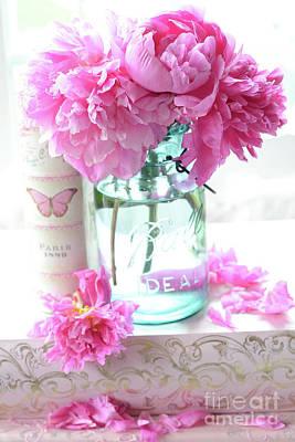 Romantic Shabby Chic Pink Peonies Aqua Mason Jars Floral Decor - Pink Peonies In Ball Jar Print by Kathy Fornal
