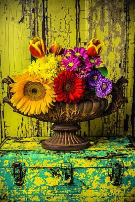 Sunflowers Photograph - Romantic Vase Still Life by Garry Gay