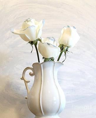 Romantic White Roses Print by Marsha Heiken