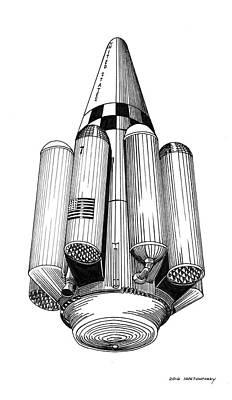 Projects Drawing - Rombus Heavey Lift Reusable Rocket by Jack Pumphrey