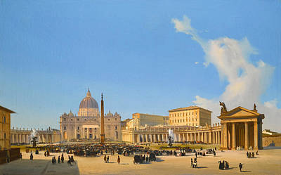 Ippolito Caffi Painting - Rome A View Of Saint Peter's Basilica And Square With Crowds Awaiting A Papal Audience by Ippolito Caffi