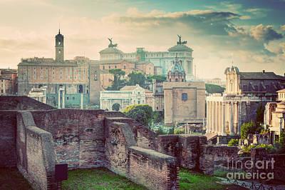 History Photograph - Rome, Italy Vintage Skyline. Roman Forum And Altare Della Patria by Michal Bednarek