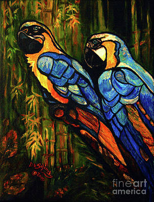 Blue And Gold Macaw Painting - Romeo And Juliet by Kat Solinsky