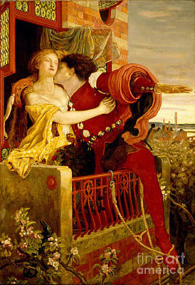 Romeo And Juliet Parting On The Balcony Print by Madox Brown