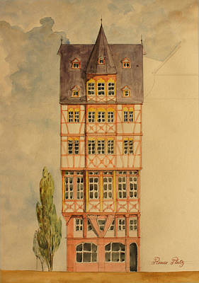 Cityhall Painting - Romer Platz Frankfurt by Juan  Bosco