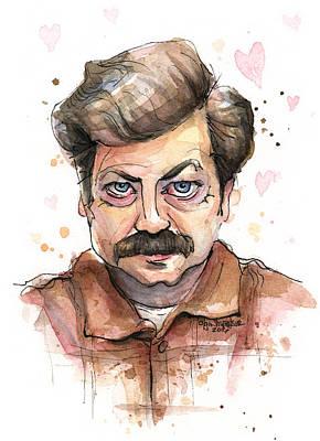 Ron Swanson Funny Love Portrait Print by Olga Shvartsur