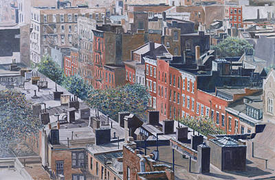 Aerial Perspective Painting - Rooftops Greenwich Village by Anthony Butera