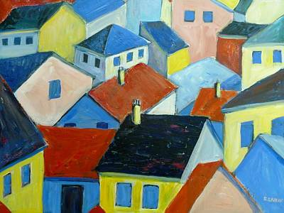 Arial View Painting - Rooftops In France by Saga Sabin