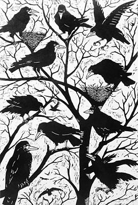 Crow Drawing - Rooks by Nat Morley