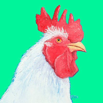Rooster Art On Green Background Print by Jan Matson