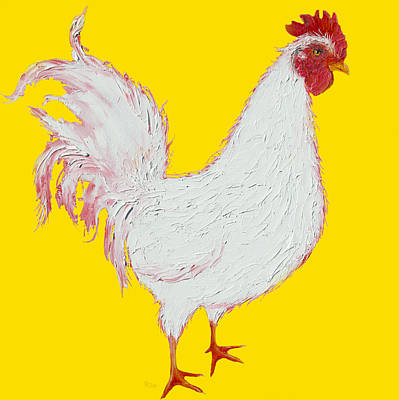 Rooster Art On Yellow Background Print by Jan Matson