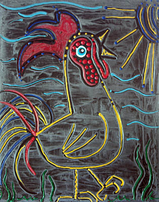 Good Luck Mixed Media - Rooster by Laura Barbosa