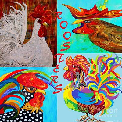 Cafe Mixed Media - Rooster Menagerie by Eloise Schneider