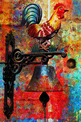 Rooster On The Door Whimsy Print by Georgiana Romanovna