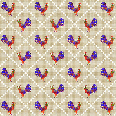 Rollo Digital Art - Rooster Pattern by Christina Rollo