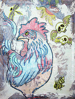 Farm Painting - Rooster Road by Laura Barbosa