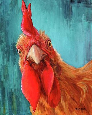 Rooster With Attitude Original by Dottie Dracos
