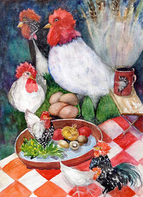 Roosters Of Ribeauville Original by Kay Fuller