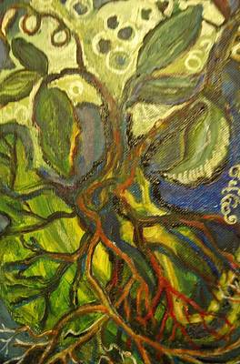 Psychiatry Painting - Roots And Tendrils Of Living by Susan Brown    Slizys art signature name