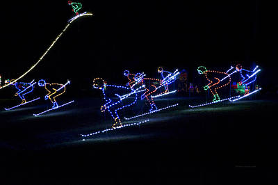 Rope Light Art Skiers Print by Thomas Woolworth