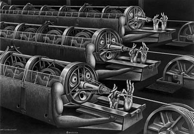 Boris Drawing - Rope Robots by Boris Artzybasheff